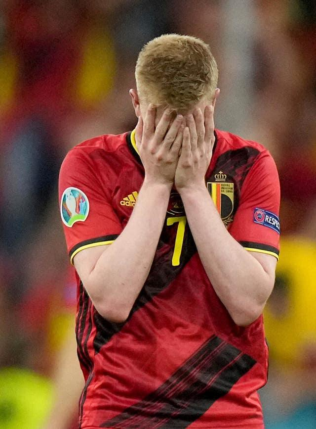 Kevin De Bruyne's tournament ended as Belgium were eliminated by Italy in the quarter-finals