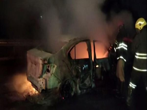 Visual of the vehicle which caught fire (Photo/ANI)