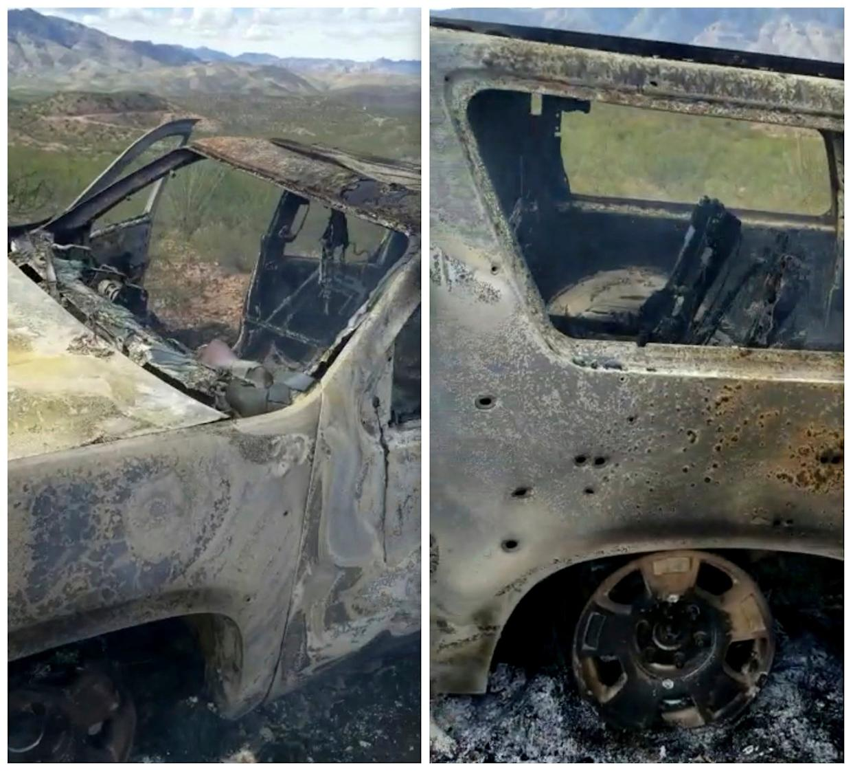 This combination of frames from Nov. 4, 2019, video by Kenny Miller and posted on the Twitter account of Alex LeBaron shows two views of a burned-out vehicle that was being used by some members of the LeBaron family as they were driving in a convoy near the Sonora-Chihuahua border in Mexico.