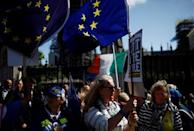 Anti-Brexit protesters demonstrate in front of the parliament at Westminster, in London