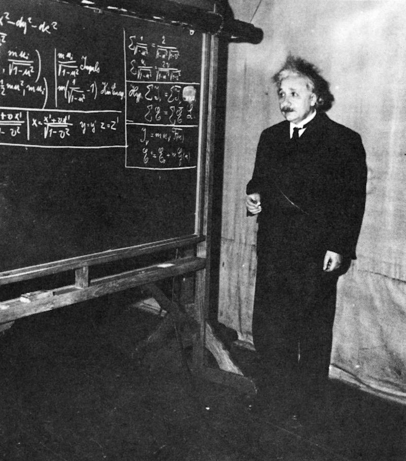 Theoretical physicist Albert Einstein giving a lecture at the Carnegie Institute of Technology in Pittsburgh, 1934. (SCIENCE SOURCE via Getty Images)
