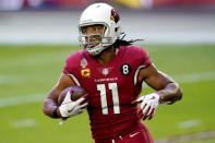 Arizona Cardinals wide receiver Larry Fitzgerald (11) warms up prior to an NFL football game against the Buffalo Bills, Sunday, Nov. 15, 2020, in Glendale, Ariz. (AP Photo/Ross D. Franklin)