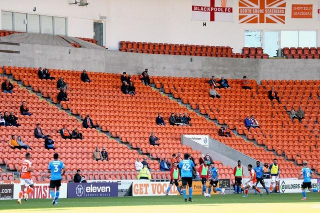 Fans were socially distanced at Bloomfield Road, where Blackpool beat Swindon 2-0 in League One