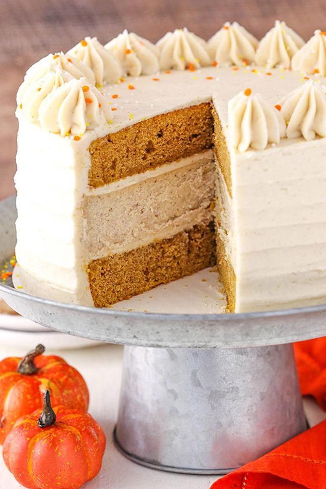 "<p>Why choose between cake and cheesecake when you can have both in one triple-layer dessert? <br></p><p><strong>Get the recipe at <a rel=""nofollow"" href=""https://www.lifeloveandsugar.com/2017/10/02/pumpkin-cheesecake-cake/"">Life, Love and Sugar</a>.</strong></p>"