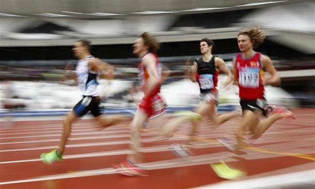 Competitors take part in the final of the men's 1500m during the BUCS Outdoor Athletics Championships at the Olympic Stadium in London May 7, 2012.