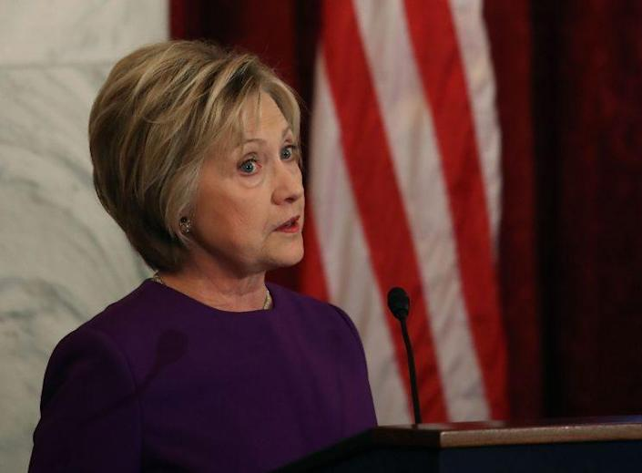 Hillary Clinton speaks on Capitol Hill in Washington, D.C., in December 2016. (Mark Wilson/Getty Images)