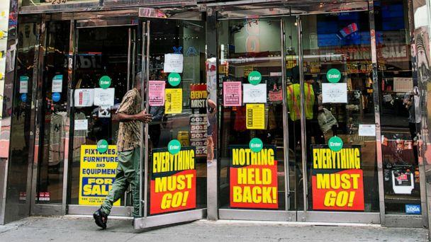 PHOTO: A man enters a retail store closing in Times Square New York, Aug. 8, 2020. (View Press/Corbis via Getty Images, FILE)