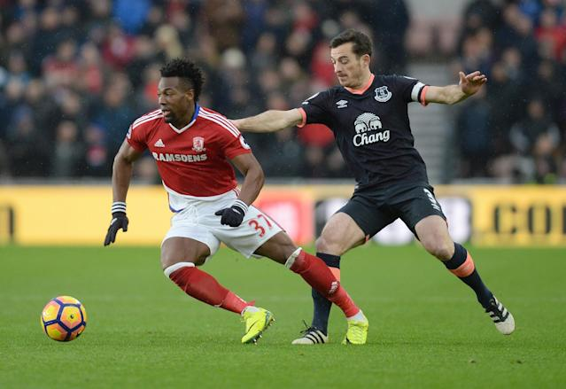 <p>Adam Traore gets the better of Everton' Leighton Baines</p>