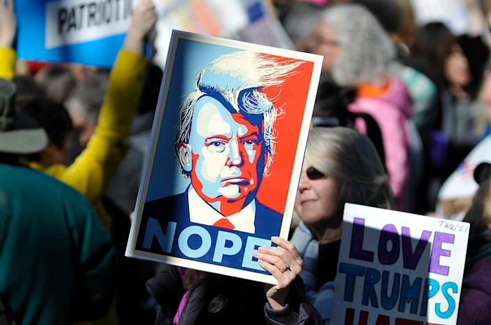 """<p>Protestors gather for a """"Not My Presidents Day"""" rally near Trump International Hotel and Tower on Central Park West in New York, Feb. 20, 2017. (Photo: Bastiaan Slabbers/NurPhoto via Getty Images) </p>"""