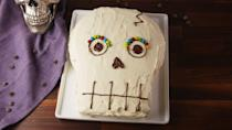 """<p>Your friends will think you are a cake master.</p><p>Get the recipe from <a href=""""https://www.delish.com/cooking/recipe-ideas/recipes/a55677/skull-cake-recipe/"""" rel=""""nofollow noopener"""" target=""""_blank"""" data-ylk=""""slk:Delish"""" class=""""link rapid-noclick-resp"""">Delish</a>.</p>"""