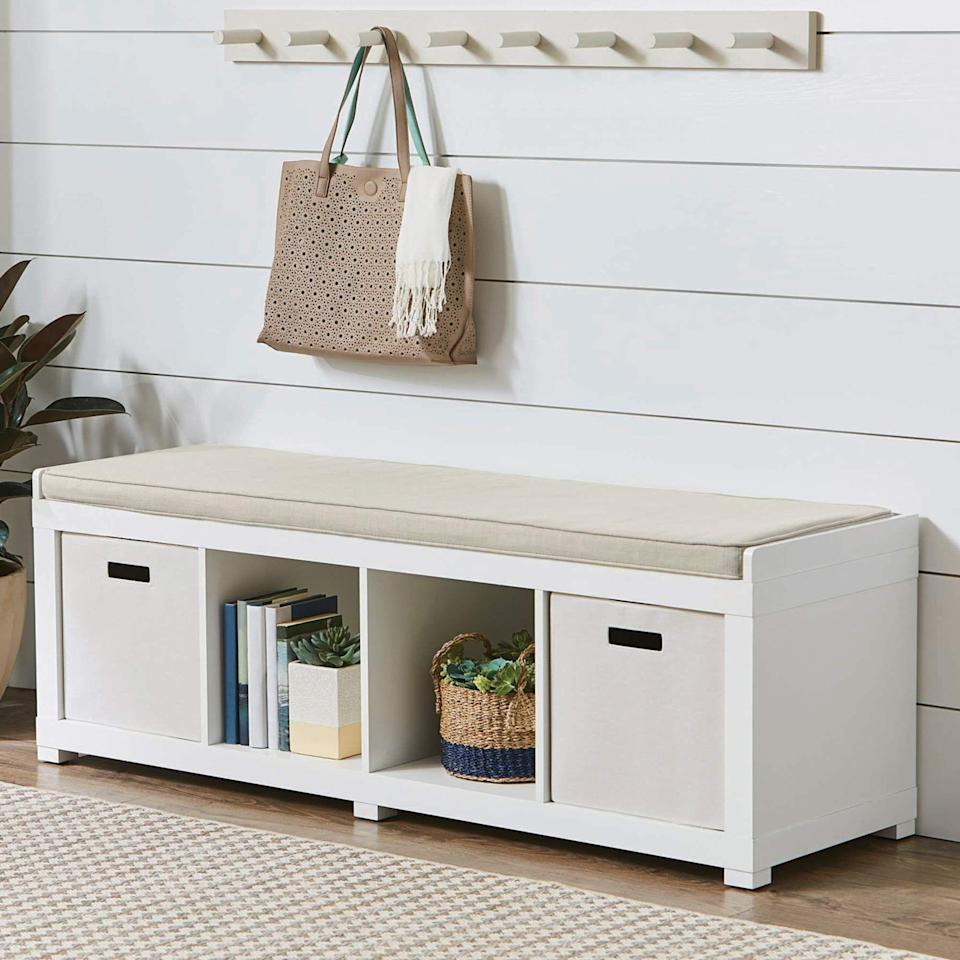 """<p><strong>Better Homes & Gardens</strong></p><p>walmart.com</p><p><strong>$99.00</strong></p><p><a href=""""https://go.redirectingat.com?id=74968X1596630&url=https%3A%2F%2Fwww.walmart.com%2Fip%2F970979074&sref=https%3A%2F%2Fwww.goodhousekeeping.com%2Fhome%2Forganizing%2Fg35936323%2Fstuffed-animal-storage-ideas%2F"""" rel=""""nofollow noopener"""" target=""""_blank"""" data-ylk=""""slk:Shop Now"""" class=""""link rapid-noclick-resp"""">Shop Now</a></p><p>Attractive and functional, this bench gives kids a place to sit and play as well as storage cubbies underneath. It comes in seven colors, and a <a href=""""https://www.walmart.com/ip/Better-Homes-and-Gardens-3-Cube-Organizer-Storage-Bench-Rustic-Gray/762669341"""" rel=""""nofollow noopener"""" target=""""_blank"""" data-ylk=""""slk:three-cube version"""" class=""""link rapid-noclick-resp"""">three-cube version</a> is also available. </p>"""