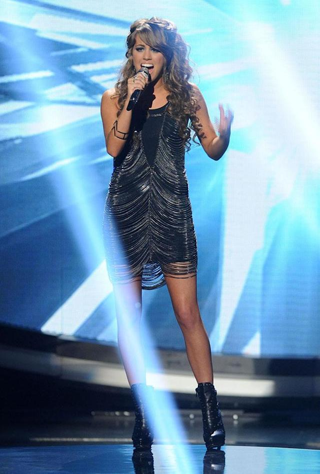 "Angie Miller performs ""Halo"" on the Wednesday, April 17 episode of ""American Idol."""