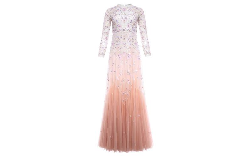 """<p>Who said you need to wear white to tie the knot? If you're willing to eschew tradition then take into consideration pastel hues with this romantic ombré dress. Sequin flowers and heavy beads feature throughout with a dipped-in-pink skirt to finish. <em><a rel=""""nofollow noopener"""" href=""""https://www.needleandthread.com/uk/all-wedding/bride/pearl-rose-gown-tinted-pink"""" target=""""_blank"""" data-ylk=""""slk:Shop now"""" class=""""link rapid-noclick-resp"""">Shop now</a>.</em> </p>"""
