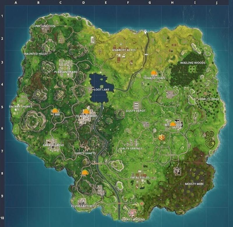 Fortnite Taco Shop locations Moisty Mire star