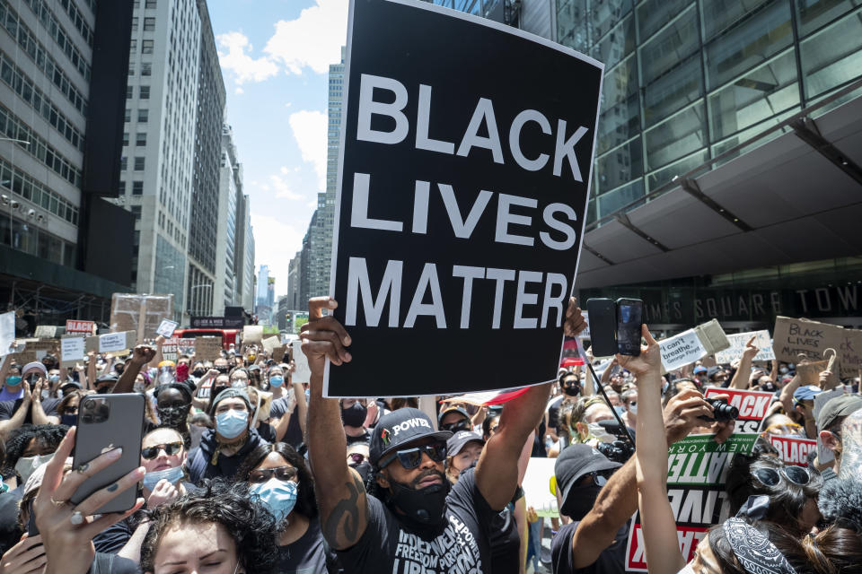 A Black Lives Matter protest in New York's Times Square. (Ira L. Black/Corbis via Getty Images)