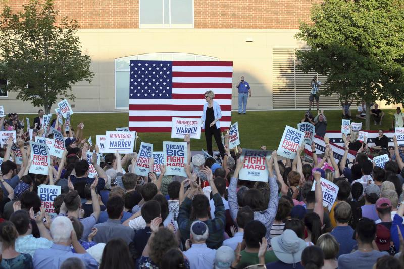 Democratic presidential candidate Elizabeth Warren, D-Mass., speaks during a rally Monday, Aug. 19, 2019, at Macalaster College during a campaign appearance in St. Paul, Minn. (AP Photo/Jim Mone)