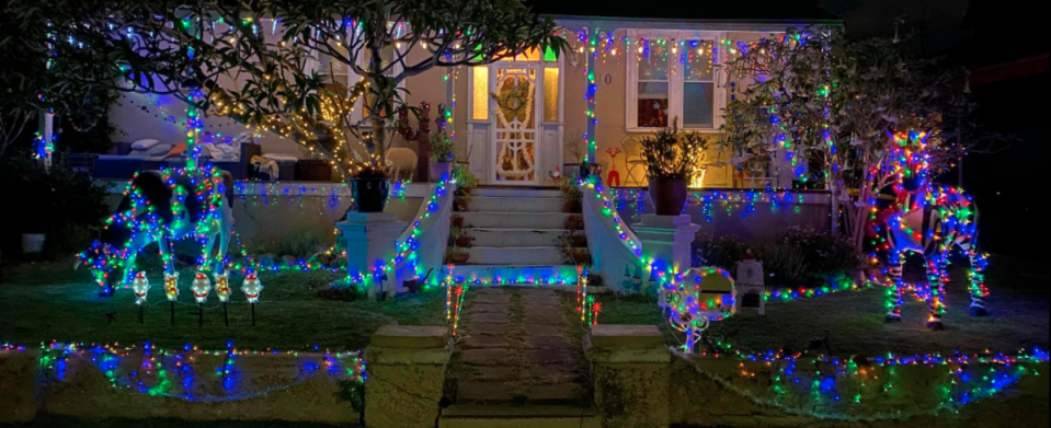 Outside of house decorate for Christmas.