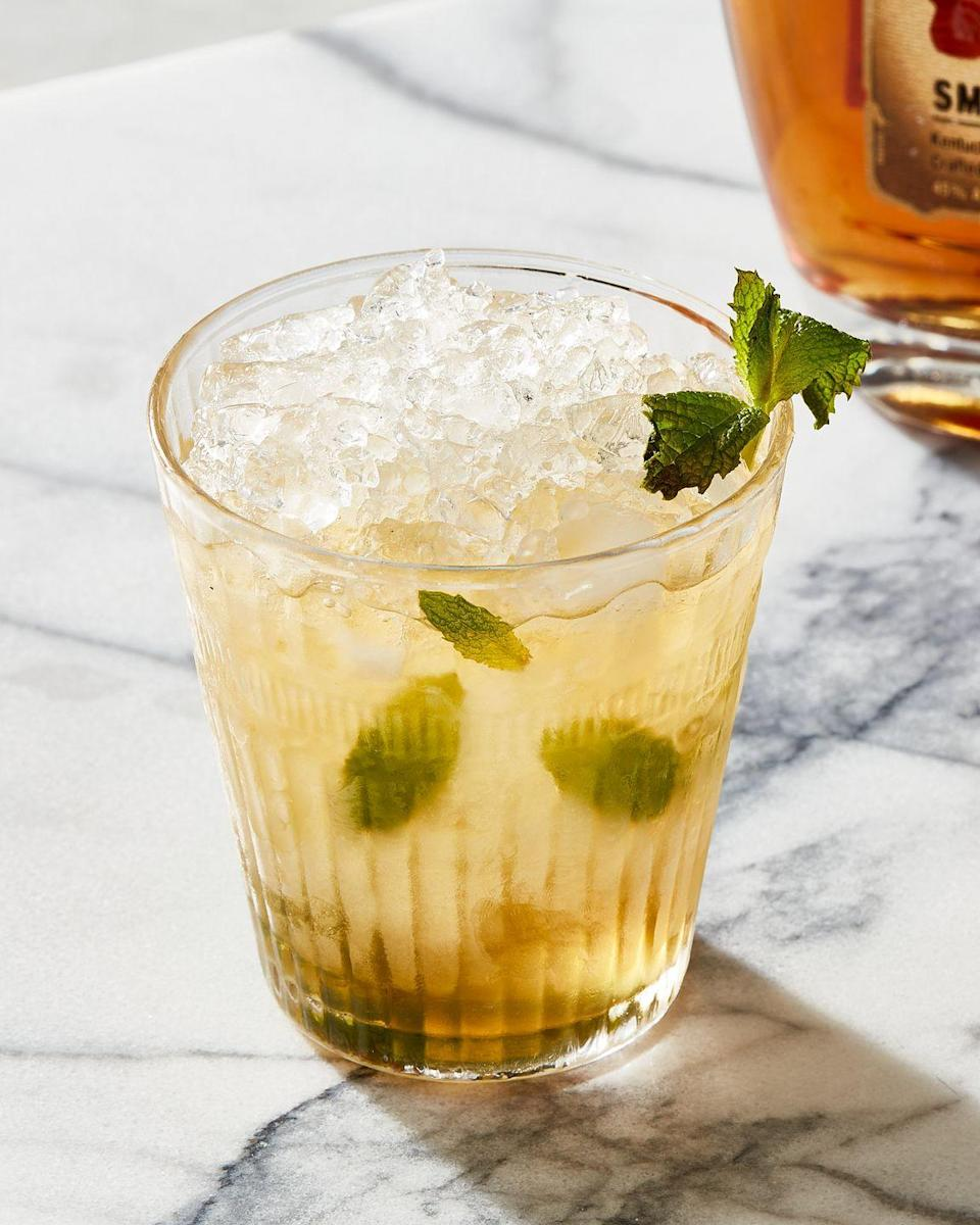 """<p>Not only does the classic frosty cup and minty flavor provide a cooling freshness on a hot day, it's also one of the best low-effort cocktails out there. <br></p><p>Get the recipe from <a href=""""https://www.delish.com/cooking/recipe-ideas/a36986294/classic-mint-julep-recipe/"""" rel=""""nofollow noopener"""" target=""""_blank"""" data-ylk=""""slk:Delish"""" class=""""link rapid-noclick-resp"""">Delish</a>.</p>"""