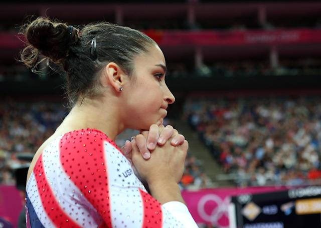 Alexandra Raisman of the United States looks after competing on the Artistic Gymnastics Women's Beam final on Day 11 of the London 2012 Olympic Games at North Greenwich Arena on August 7, 2012 in London, England. (Photo by Ronald Martinez/Getty Images)