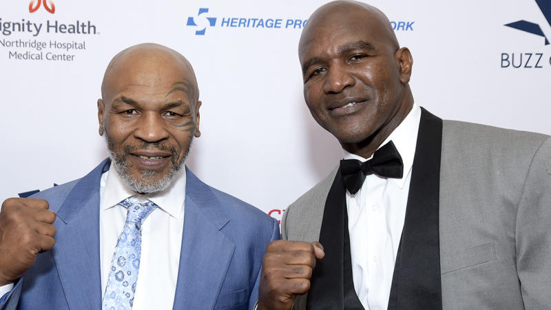 Mike Tyson and Evander Holyfield, pictured here at the Harold and Carole Pump Foundation Gala in 2019.