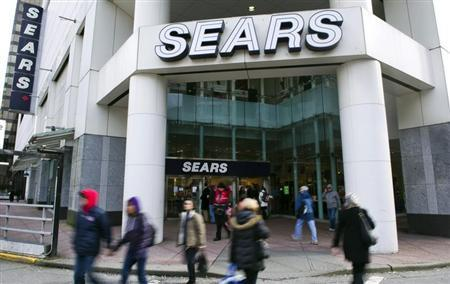 People walk past the main Sears store in downtown Vancouver, British Columbia