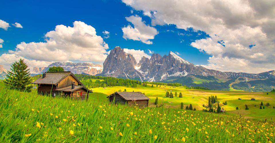 Alpe di Siusi - Seiser Alm with Sassolungo - Langkofel mountain group in background at sunset. Yellow spring flowers and wooden chalets in Dolomites, Trentino Alto Adige, South Tyrol, Italy, Europe (Photo: CrispyPork via Getty Images)