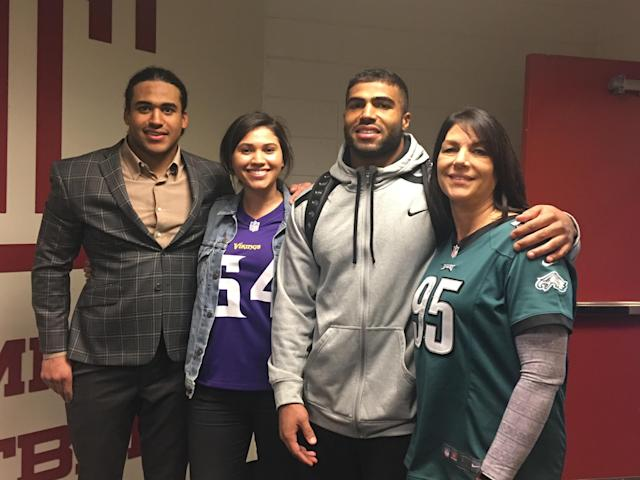 From left to right, Eric Kendricks, sister Danielle, Mychal Kendricks and mother Yvonne Thagon. Eric and Mychal are on a collision course to play for a shot at the Super Bowl. (Courtesy of the Kendricks family)