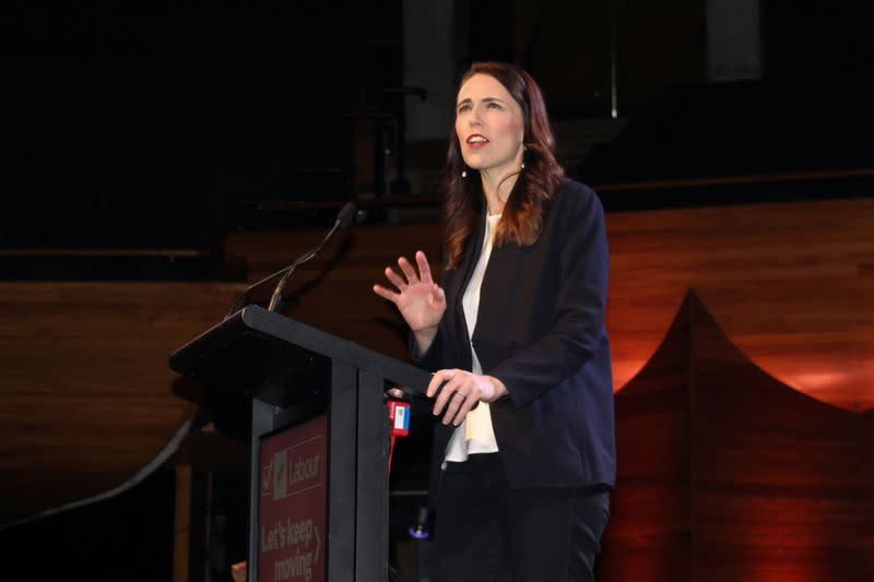 FILE PHOTO: Prime Minister Jacinda Ardern addresses her supporters at a Labour Party event in Wellington