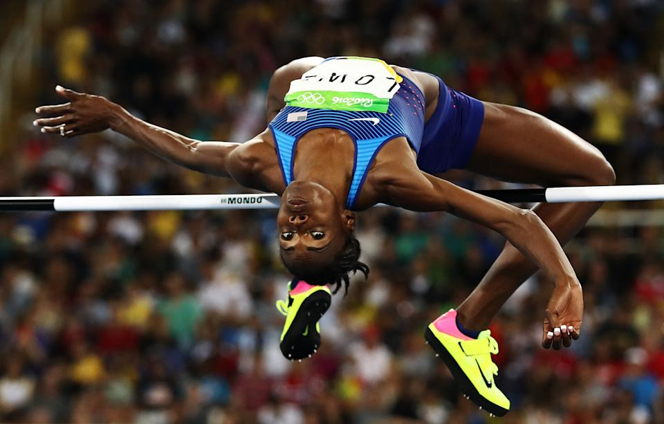 RIO DE JANEIRO, BRAZIL - AUGUST 20:  Chaunte Lowe of the United States competes during the Women's High Jump Final on Day 15 of the Rio 2016 Olympic Games at the Olympic Stadium on August 20, 2016 in Rio de Janeiro, Brazil.  (Photo by Ezra Shaw/Getty Images)