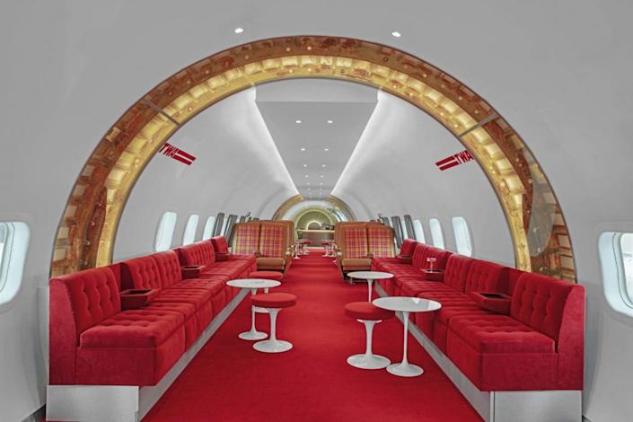 An air travel-inspired lounge area inside the Stonehill Taylor-designed TWA Hotel.