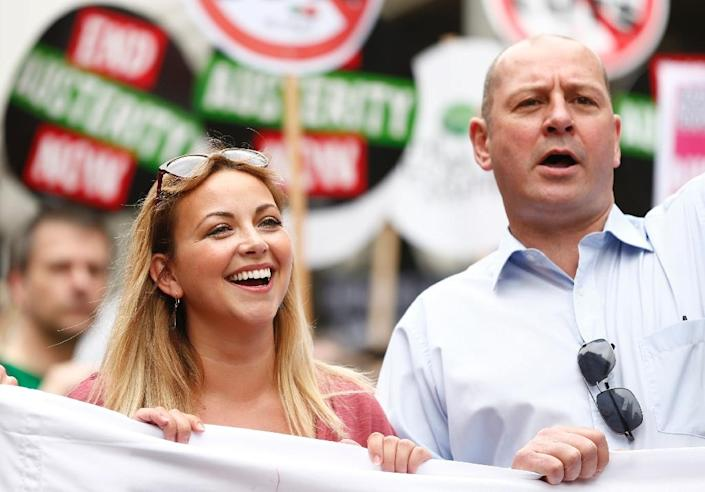 Charlotte Church joins the anti-austerity march in London on June 20, 2015, against the British government's spending cuts and austerity measures (AFP Photo/Justin Tallis)