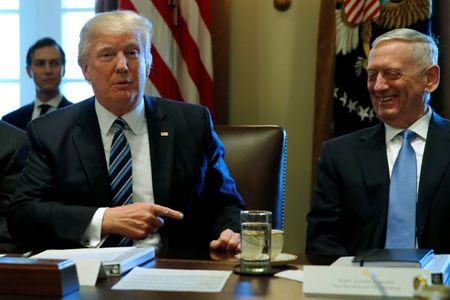 Trump, flanked by Mattis, holds a cabinet meeting at the White House in Washington