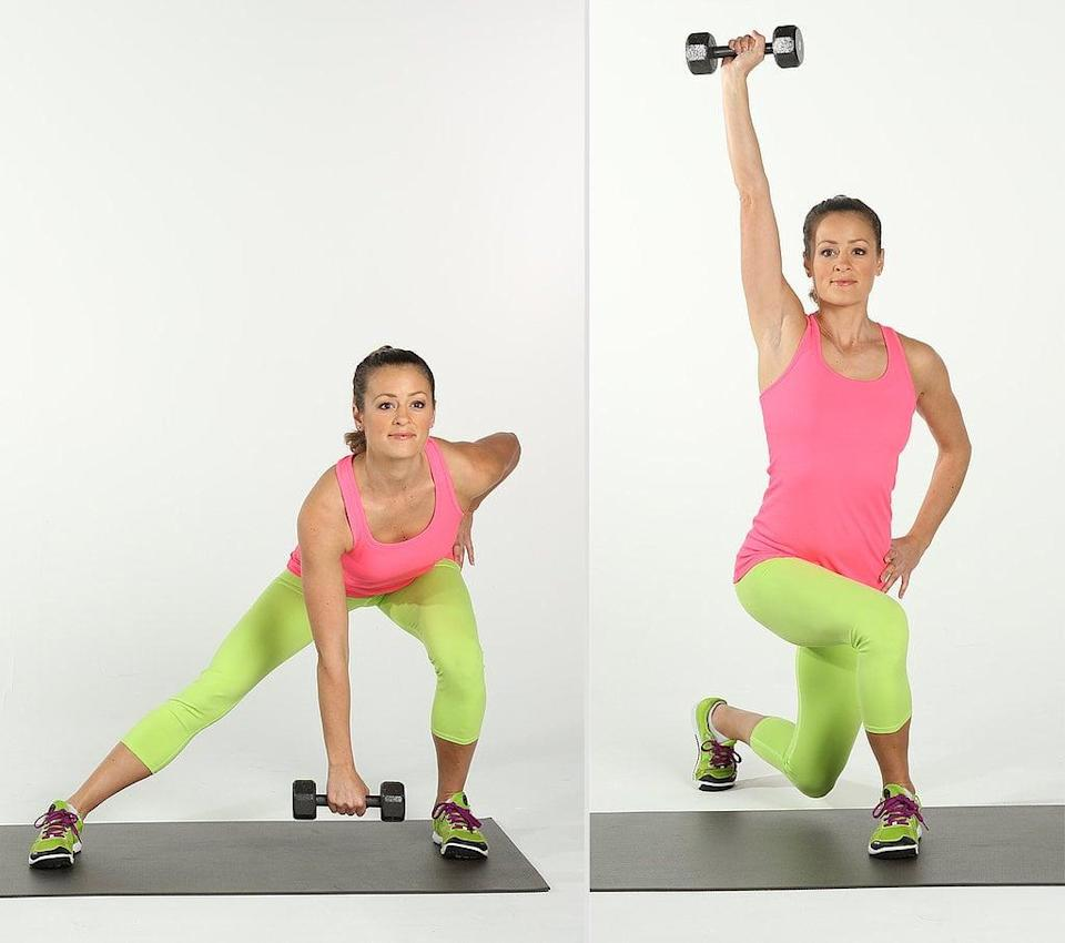 <ul> <li>Holding a five- to 10-pound weight in your right hand, side lunge to the left, bringing your right hand to your left foot. Lower your butt as much as possible while sinking back into your heels. Keep your toes pointed forward and your left knee bent to no more than 90 degrees. </li> <li>Push off gently with your left foot, and come into a curtsy position with your left leg crossing behind your right as you press your weight overhead. Keep your hips square and your curtsy tight. Both feet should be pointed forward. This completes one rep.</li> <li>Repeat by stepping immediately into a side lunge from the curtsy.</li> </ul>