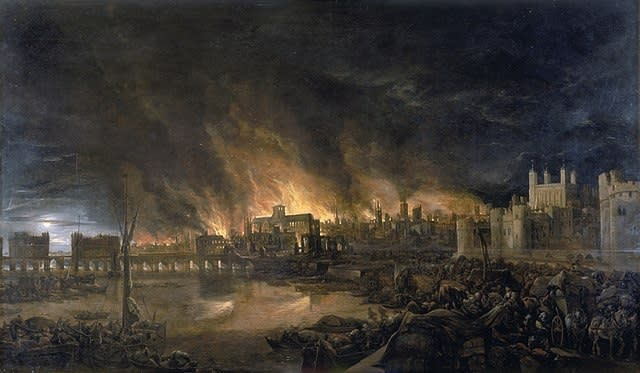 El accidental incendio en Londres de 1666 que indirectamente ayudó a acabar con la mortal pandemia de peste (imagen vía Wikimedia commons)
