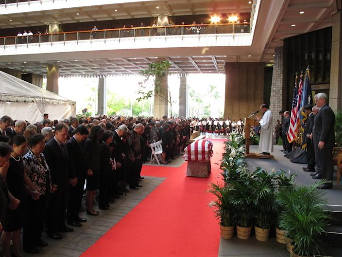 Family members, state lawmakers and members of the public attend a visitation service for U.S. Sen. Daniel Inouye at the Hawaii state Capitol in Honolulu on Saturday Dec. 22, 2012. (AP Photo/Oskar Garcia)