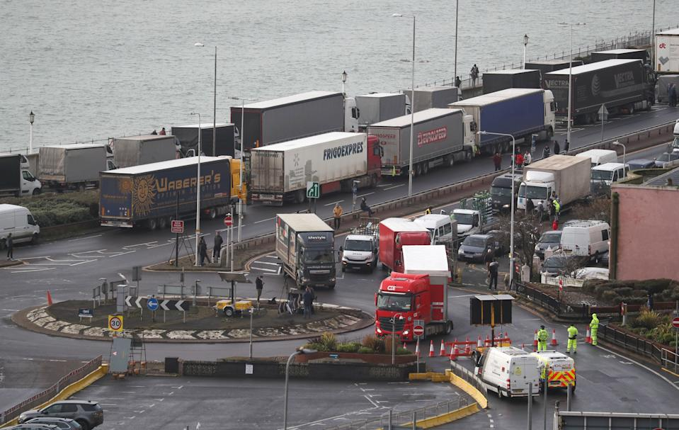Lorries parked up outside the entrance to the Port of Dover, Kent, following the closing of French borders to arrivals from the UK.