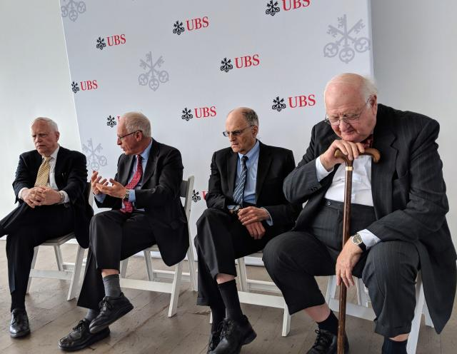James Heckman, Oliver Hart, Thomas Sargent, and Angus Deaton talk before a UBS event. (Ethan Wolff-Mann/Yahoo Finance)