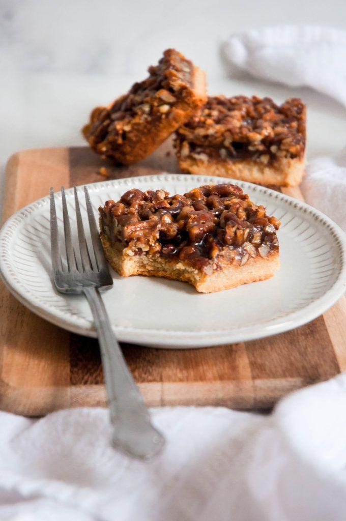 "<p>For a mess-free option, serve these easy-to-cut bars instead of pie. Spoiler alert: They taste exactly just like the real thing (if not better).</p><p><em><a href=""https://www.erinliveswhole.com/healthy-pecan-pie-bars/"" rel=""nofollow noopener"" target=""_blank"" data-ylk=""slk:Get the recipe at Erin Lives Whole »"" class=""link rapid-noclick-resp"">Get the recipe at Erin Lives Whole »</a></em></p>"