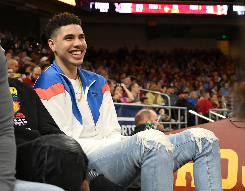 LOS ANGELES, CA - MARCH 07: Professional basketball player LaMelo Ball, right, attends the game between the USC Trojans and the UCLA Bruins at Galen Center on March 7, 2020 in Los Angeles, California. (Photo by Jayne Kamin-Oncea/Getty Images)