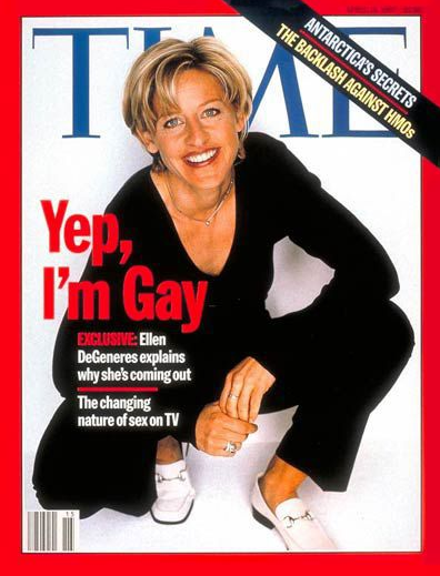 <p>21 years ago Elle DeGeneres came out publicly in Time magazine.<br />(Photo: Time Magazine) </p>