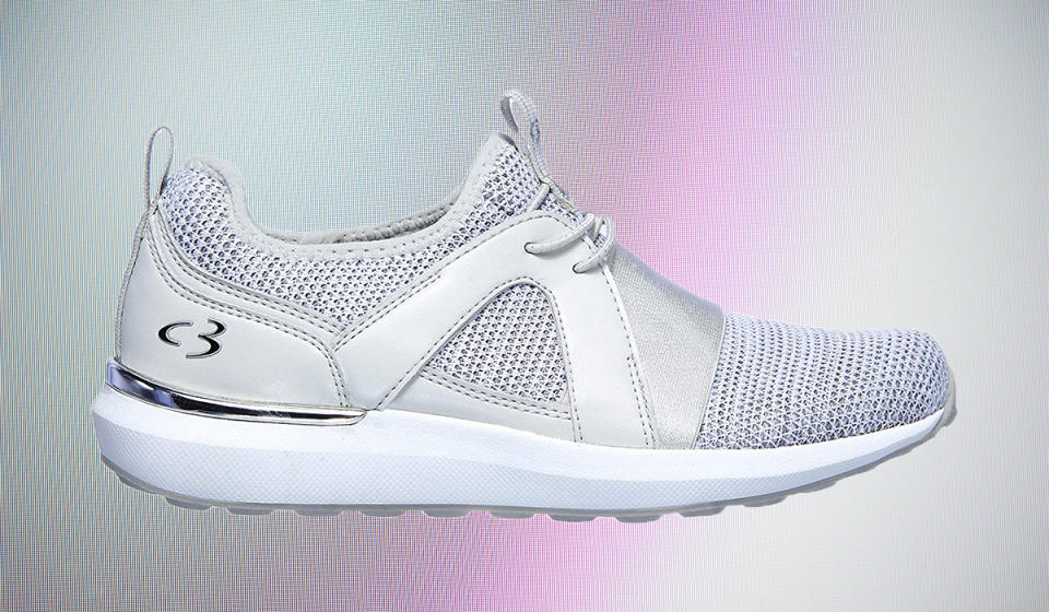 A pair of classic white sneakers — with a twist. (Photo: Amazon)