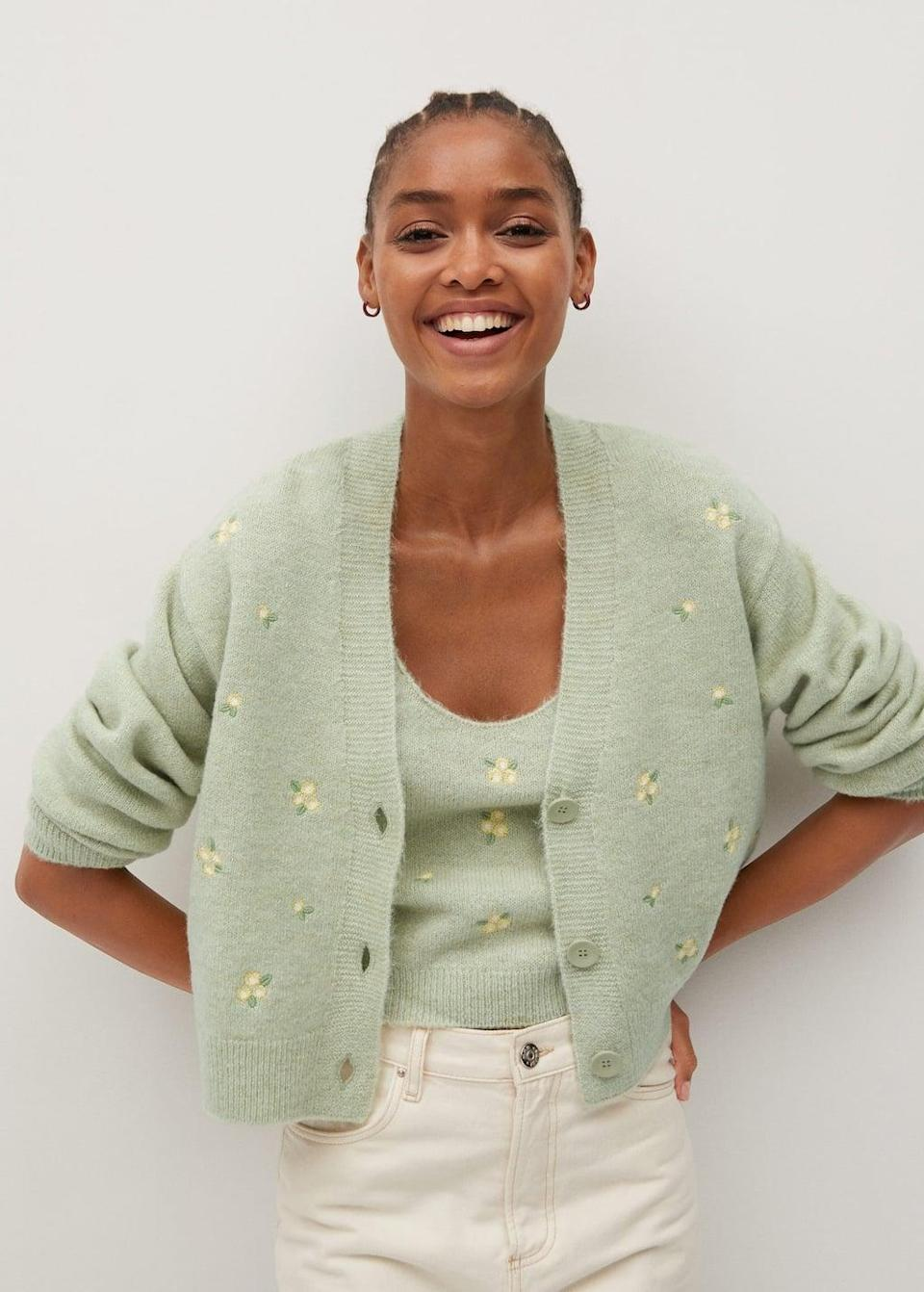 <p>A refreshing change from typical fall colors, this <span>Flowers embroidery cardigan</span> ($60) pops with a soft burst of color.</p>