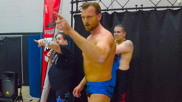 """Wrestler """"The Progressive Liberal"""" schools the Appalachian audience on the tenets of liberalism."""