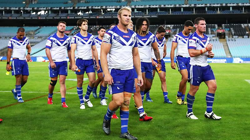 The Bulldogs, pictured here playing the Cowboys behind closed doors at ANZ Stadium on Thursday night.