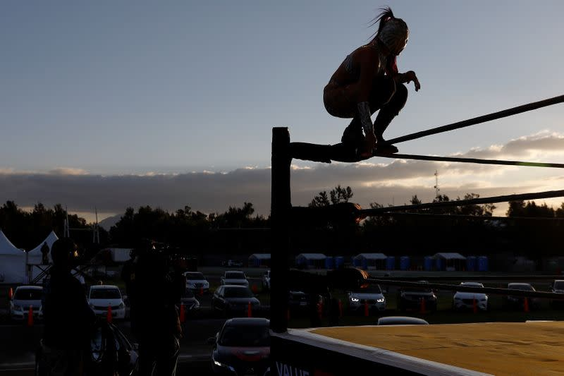 Mexico's iconic Lucha Libre wrestlers take part in a drive-in wrestling event amid the coronavirus pandemic