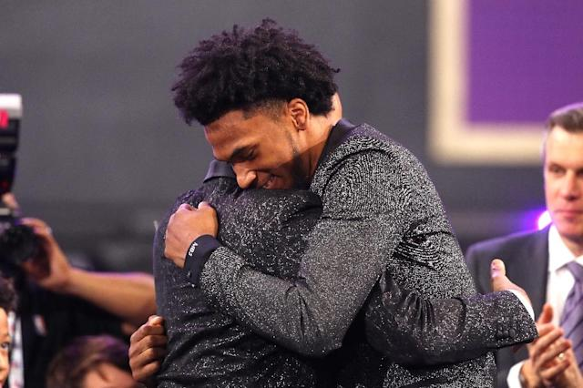 Marvin Bagley III reacts after being drafted second overall by the Sacramento Kings during the 2018 NBA Draft, at the Barclays Center in New York, on June 21 (AFP Photo/Mike Stobe)