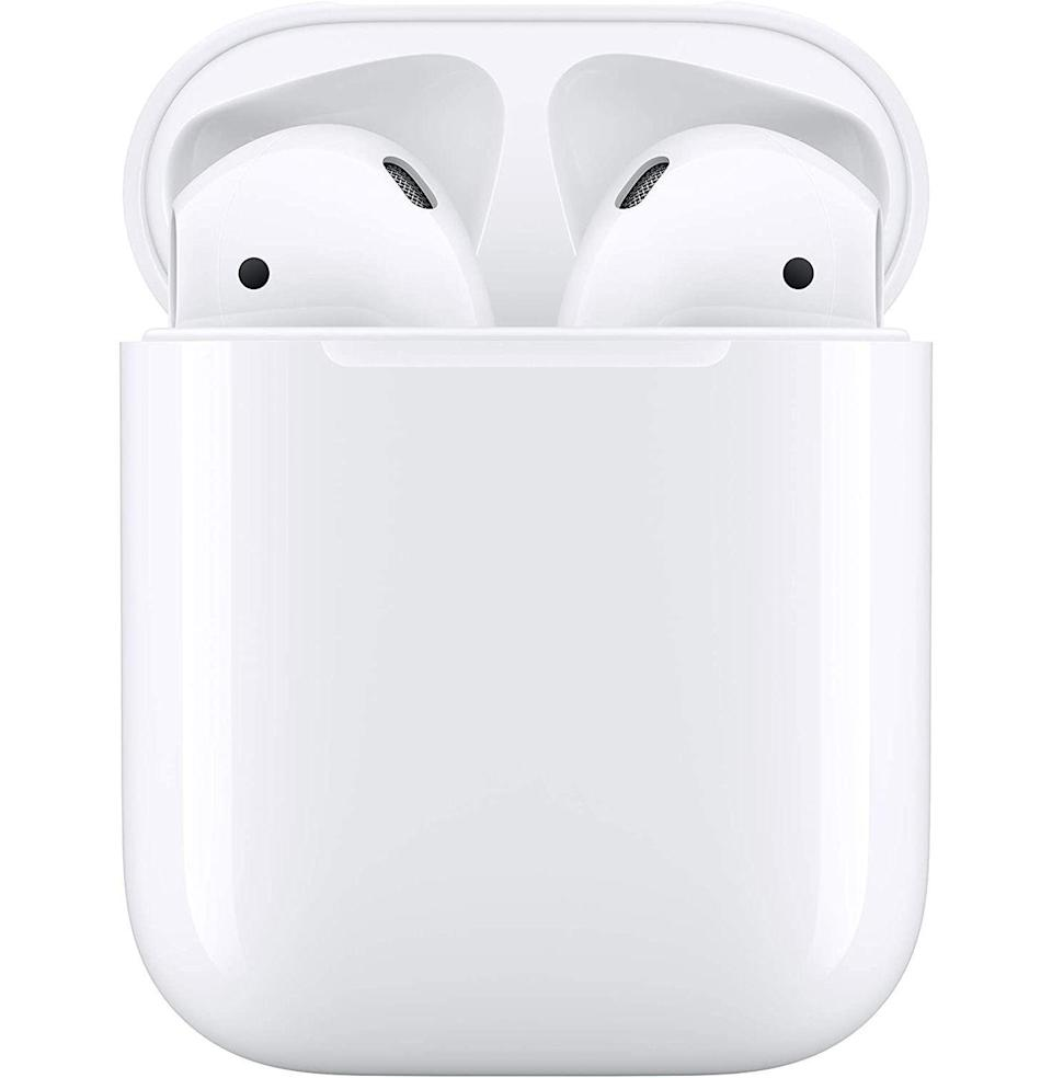 """<p><strong>Apple</strong></p><p>amazon.com</p><p><strong>$129.00</strong></p><p><a href=""""https://www.amazon.com/Apple-AirPods-Charging-Latest-Model/dp/B07PXGQC1Q?tag=syn-yahoo-20&ascsubtag=%5Bartid%7C10049.g.36678553%5Bsrc%7Cyahoo-us"""" rel=""""nofollow noopener"""" target=""""_blank"""" data-ylk=""""slk:Buy"""" class=""""link rapid-noclick-resp"""">Buy</a></p><p><del>$159.00</del> <strong>(19% off)</strong></p><p>And then there are the OG, trend-defining AirPods, which are downright cheap right about now.</p>"""