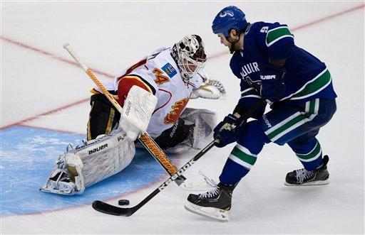 Vancouver Canucks' Zack Kassian, right, scores the winning goal against Calgary Flames goalie Miikka Kiprusoff, of Finland, in a shoot-out during an NHL hockey game Wednesday, Jan. 23, 2013, in Vancouver, British Columbia. (AP Photo/The Canadian Press, Darryl Dyck)