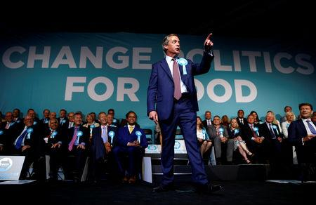 Brexit Party leader Nigel Farage gestures as he speaks at a Brexit Party campaign event in London, Britain, May 21, 2019. REUTERS/Henry Nicholls