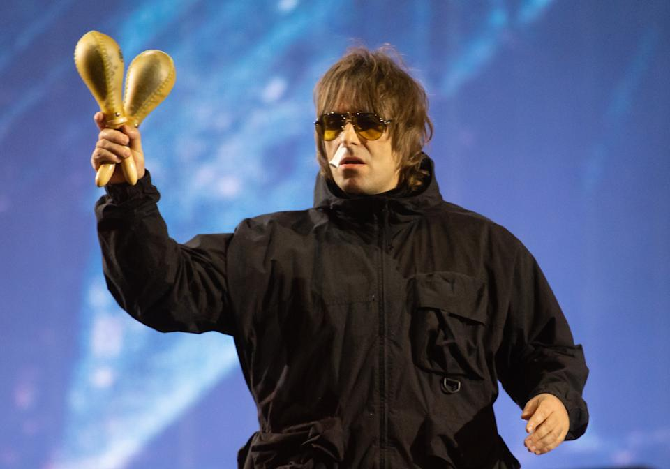 READING, ENGLAND - AUGUST 29: (EDITORIAL USE ONLY) Liam Gallagher performs live during Reading Festival 2021 at Richfield Avenue on August 29, 2021 in Reading, England. (Photo by Samir Hussein/WireImage)